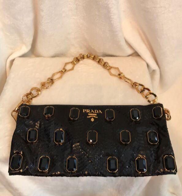 8e6498324a ... netherlands prada black python snakeskin jewels handbag clutch gold  chain af3dd d6bd1