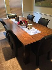 8' Rustic Hand-scraped Solid Wood Dining Table