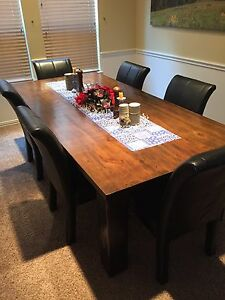 Details About 8 Rustic Hand Sed Solid Wood Dining Table