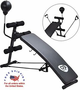 Workout Sit Up Bench Boxing Punching Bag Adjustable Exercise Fitness Cardio Abs