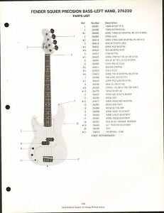 Phenomenal Vintage Ad Sheet 3589 Fender Guitar Parts List Squier Precision Wiring Cloud Hisonuggs Outletorg