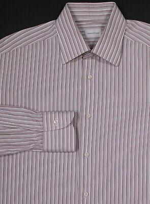 * Ermenegildo Zegna * Recenti Grigio/rosso Cotone A Righe Vestito Camicia (40) Corrispondenza A Colori