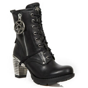 Details about NEW Rock Shoes Womens Ankle Boot Boots Heel Boots Gothic Pentagram show original title