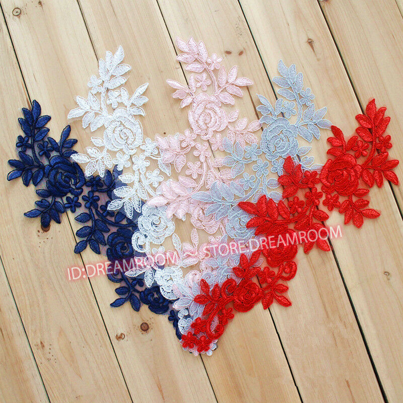 BF09 1 Yards Polyester Flower Embroidered Applique Lace Trim Sewing Handicrafts