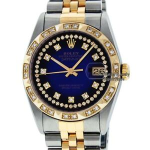 fb25970d66eb2 Pre-Owned Rolex Men s Datejust 16013 SS 18K Yellow Gold Blue Diamond ...