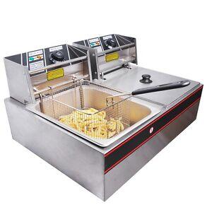 Electric-Double-Tank-Deep-Fryer-Restaurant-12-Liter-Stainless-Steel-Basket-Cook