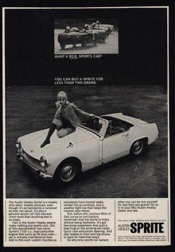 Pretty Woman On Hood VINTAGE AD 1966 AUSTIN-HEALEY SPRITE Convertible Car