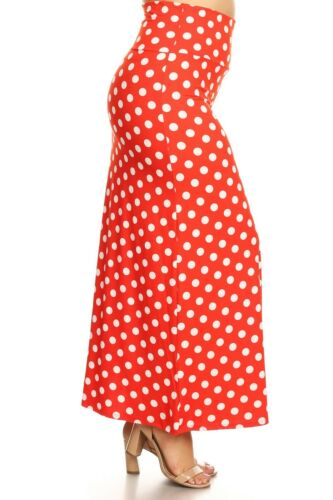 PLUS SIZE POLKA DOT BANDED WAIST LONG FORM FITTING MAXI SKIRT XL 2XL 3XL