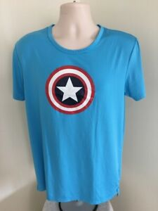 Captain-America-Shield-T-Shirt-L-Large-Blue-Marvel-Comics-Short-Sleeve