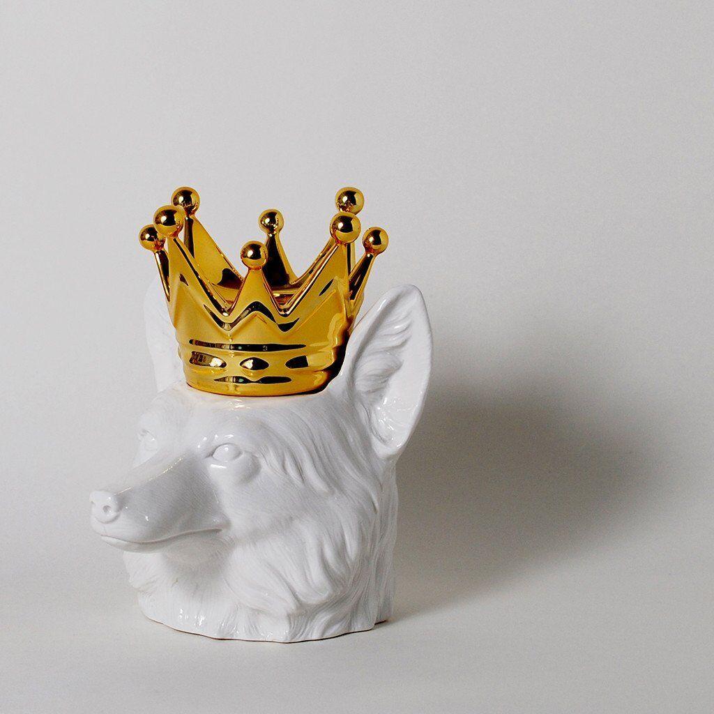 Crowned Head Fox Céramique Cartouche porcelaine or Crown 9.5