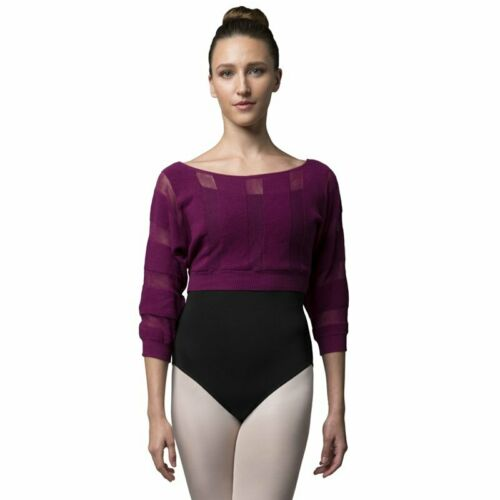 BLOCH Ladies Dance Sheer Stripe Cotton Knit Crop Sweater 3//4 Sleeves Warm up