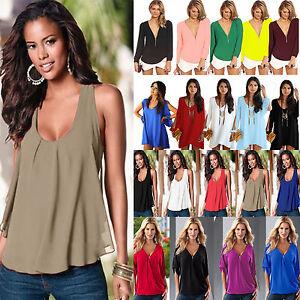 Plus-Size-Women-Summer-Chiffon-Tank-Top-T-shirt-Ladies-Casual-Loose-Tops-Blouse