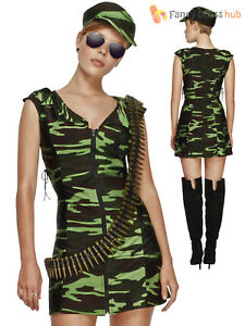 c13ed44bf74 Details about Ladies Fever Combat Girl Costume Adults Army Fancy Dress Sexy  Military Outfit