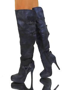 649a6cc20ed1 Caricamento dell immagine in corso  Stivali-sopra-il-ginocchio-blu-Sexy-tacco-alto-