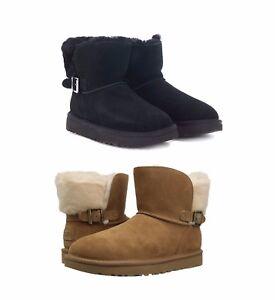 ed0d284ca4f NEW UGG Women's Karel Buckle Boots Shoes Black Chestnut Grey + 5 6 7 ...