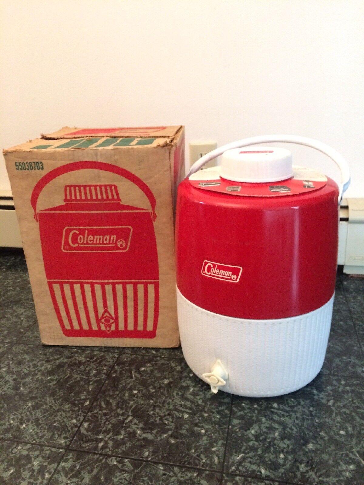 Vintage Coleman Red & White Metal & Plastic Cooler Jug-3 Gallon-5503B703
