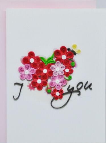Handarbeit Karte I Love You Grußkarten 3D 3D Quilling Karten zum Valentinstag