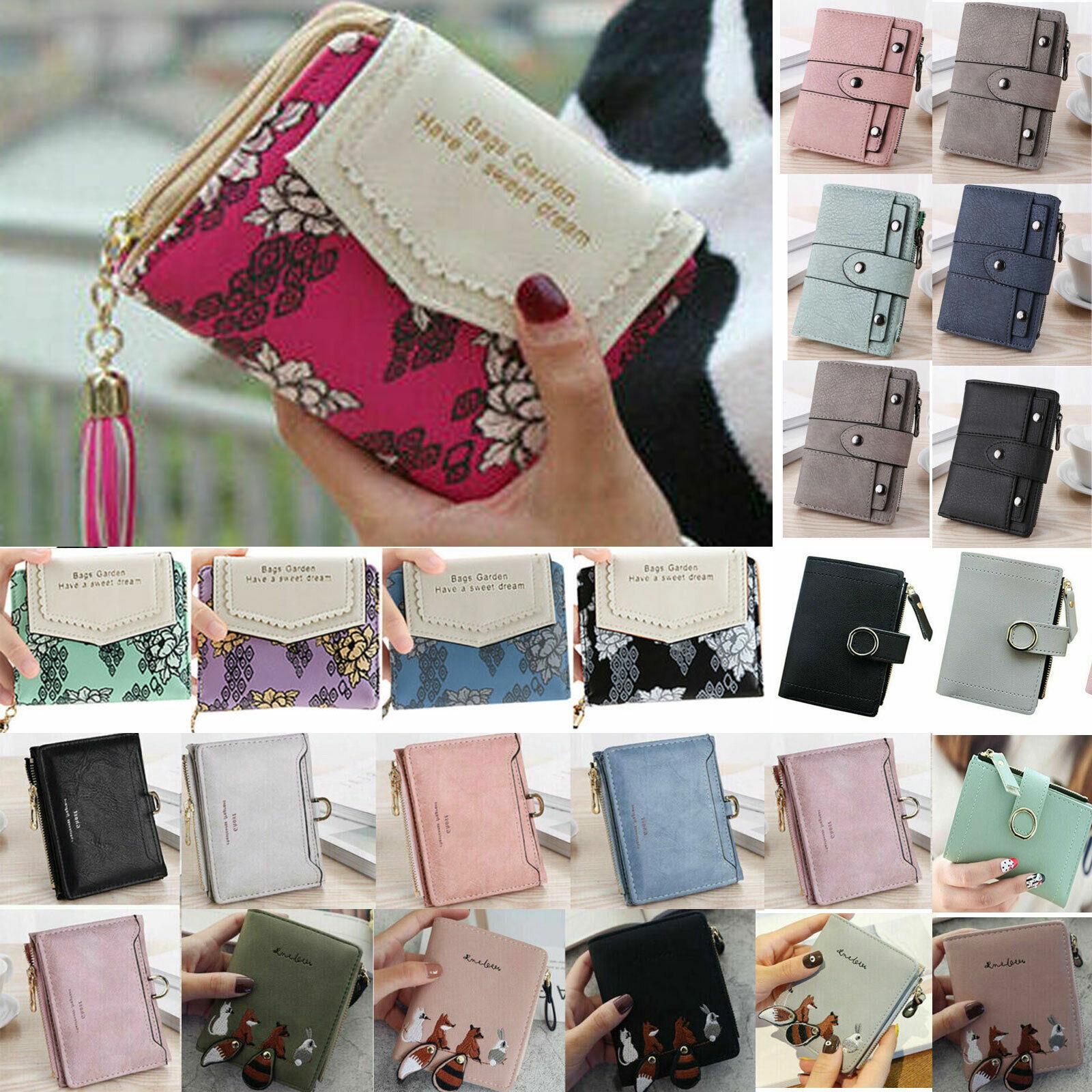 Ladies Short Mini Wallet Leather Folding Coin Card Snap Zip Holder Money Purse