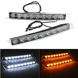 2X-9LED-Car-DRL-Light-Daytime-Turn-Signal-White-Yellow-LED-Lamp