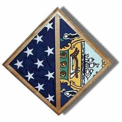 Wall Mounted box Hand Made By Veterans 2 Flags display case