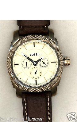 NWT Fossil DE5015 Machine Brown Leather Strap Vintage Bronze Analog Watch