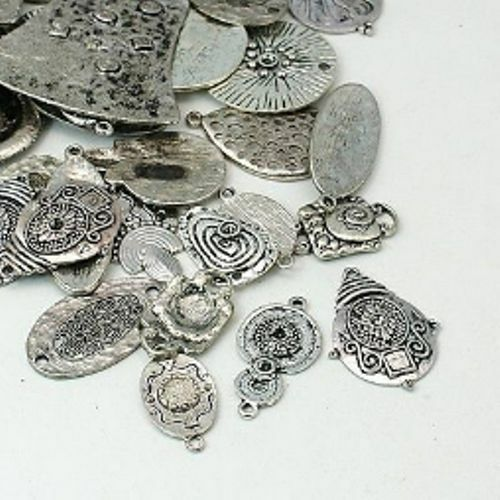 100 Gramm tolle Anhänger, Mix, ca.  26-52 x 15-49 x 2-5mm, Farbe Silber, Charms