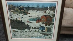 Charles-Wysocki-Limited-Edition-Winter-Print-Fox-Run-Signed-160-1000-FRAMED