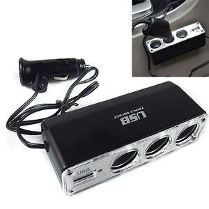 Car-Cigarette-Lighter-Multi-Socket-Triple-Splitter-USB-Charger-Adapter-12V-TR