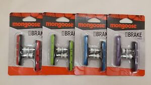 NEW-Mongoose-BMX-Bicycle-BRAKE-PAD-SET-Linear-Pull-PURPLE-BLUE-RED-GREEN-2-PADS
