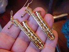 (M-200-G) Baritone SAX Saxophone EARRINGS 24k gold plate JEWELRY love saxophones