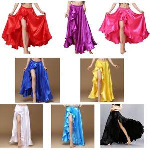 2019-New-Belly-Dance-Costumes-Side-Split-Jupe-Skirt-Flamenco-Long-Satin-Skirt