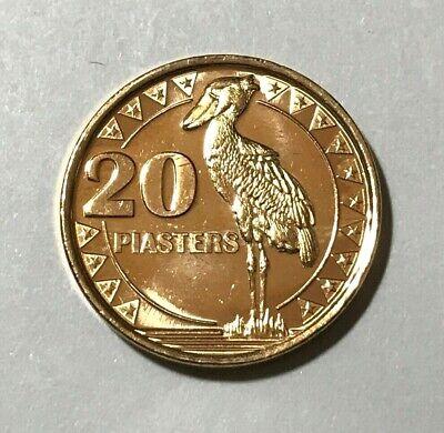 bird animal wildlife coin 2015 South Sudan 20 piasters Shoebill stork