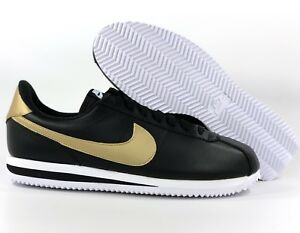 best authentic b676d 1f707 ... spain image is loading nike cortez basic leather se black metallic gold  a64f1 9a0a1
