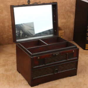 Wooden Drawer Jewelry Cabinet Box Storage Chest Stand Organizer Case