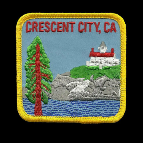 California Patch Crescent City Ocean and Redwoods Iron on Patch CA Souvenir