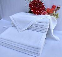 Hemstitched Oversized White Dinner Napkin Linen Kitchen Home Textiles Bar