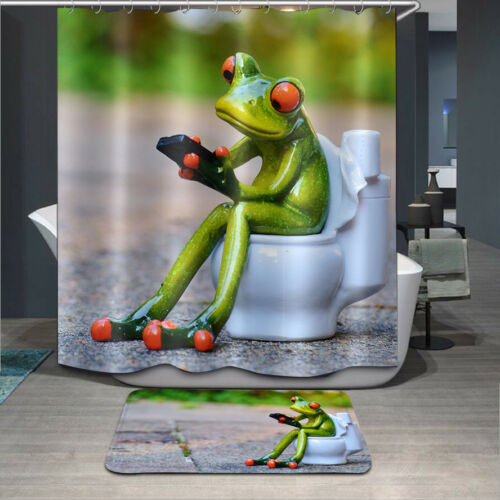 """72x72/""""Frog Toilet Polyester Fabric Shower Curtain Bathroom Mat 12Hook 2210"""