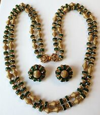 VINTAGE HOBE SIGNED GREEN FACETED BEAD 2 STRAND NECKLACE & EARRING SET