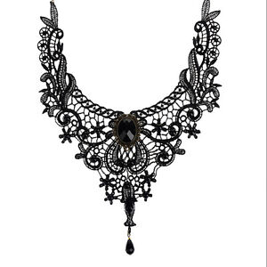 Black-Lace-amp-Bead-Choker-Victorian-Steampunk-Style-Gothic-Collar-Necklace-Gift-S-amp-K