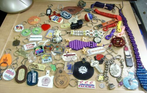 60 vintage assorted key chains sports travel adver