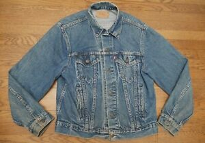 53bd324e5 Details about Vintage 80s LEVI'S Trucker Jacket Medium Rocker Worn Denim  Indigo Faded