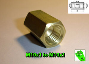 Brake-Line-Pipe-Brass-Inline-Female-Fitting-Connector-Coupler-M-10-x-1-Metric-A