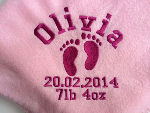 Great Baby Gift. Personalised Pink Foot Print Embroidered Baby Blanket