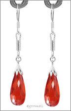 925 Silver Dangle Earrings CZ Drop Orange Red #53019