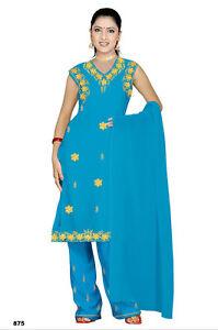 La Fourniture Salwar Kameez Set Carnaval Sari Boho Inde Bollywood Bleu Clair En 4 Tailles-afficher Le Titre D'origine
