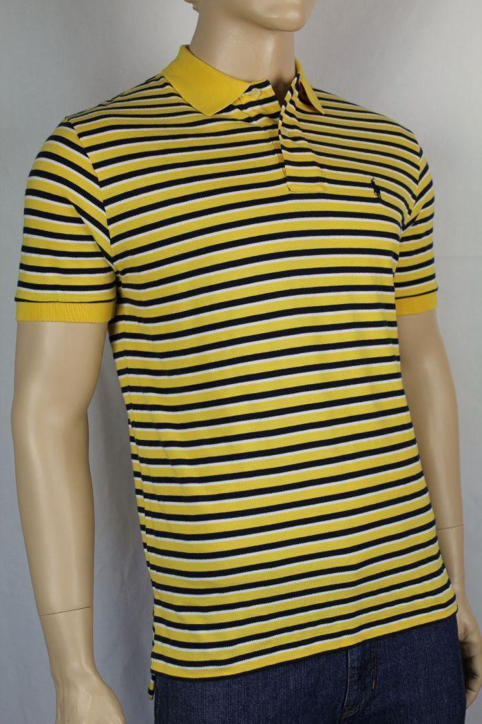 POLO Ralph Lauren Medium M Yellow Navy bluee White Stripe Mesh Polo Shirt NWT