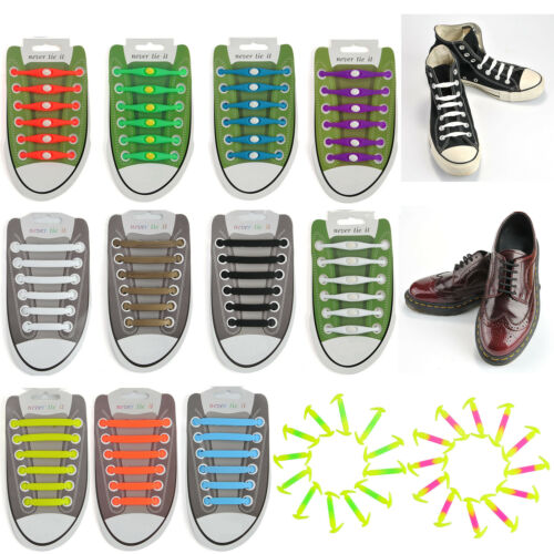 12x Unisex Lazy Shoe String Laces Easy Sneaker Elastic No Tie Shoelaces Silicone