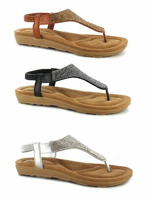 Ella Ladies Diamante Toe Post Sling Back Cushioned Insole Summer Sandal Size 3-8