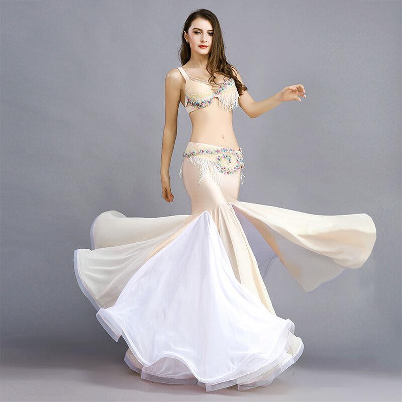 A2005 professionale danza del ventre costume 3 pezzi con perline Coloreeeate decorata SIRENA