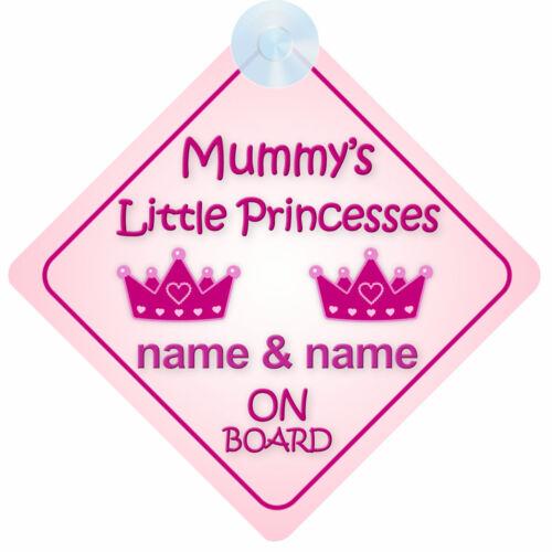 Mummys Little Princesses À Bord Voiture Signe nouveau bébé//enfant cadeau deux filles//Soeurs